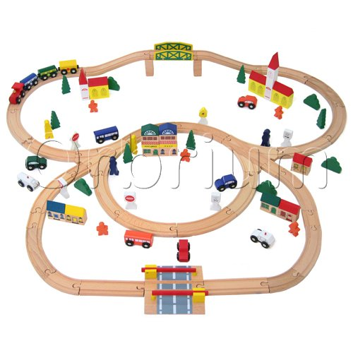 100-Piece-Orbrium-Toys-Triple-Loop-Wooden-Train-Set-Fits-Thomas-Brio-Chuggington