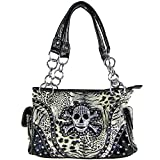 Skull Cross Bones Leopard Conceal Pocket Rhinestone Studded Handbag
