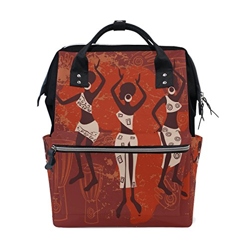 WOZO Africa Women Vintage Multi-function Diaper Bags Backpack Travel Bag by WOZO