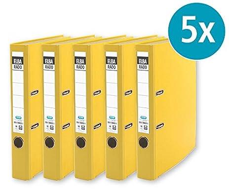 Elba carpeta rado brillant DIN A4 5 Pack Oficina carpeta carpeta - Archivador - Clasificador de cartón carpeta Ranura carpeta, color amarillo estrecho: ...