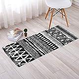 CWJ Retro Black and White Geometric mats into The Door to The Nordic Bedroom Door mats mats Bedside Bay Window Long Non-Slip mat,D,50120