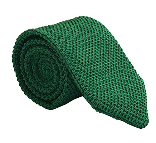 Mens Kid Casual Hunter Green Woven Knit Neck Ties Spring Textured Trendy Necktie