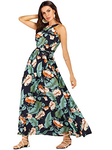 (Floerns Women's Sleeveless Halter Neck Floral Print Maxi Dress Multi-Green L)