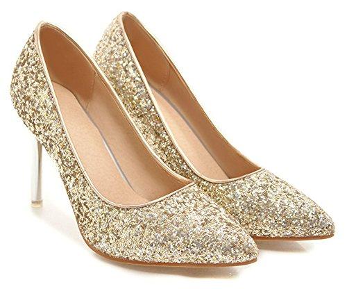 Aisun Womens Toe Pumps A Punta - Bling Paillettes Slip On High Heel - Scarpe Basse Da Sera Con Tacchi A Spillo Bassi (oro, 4,5 B (m) Us)