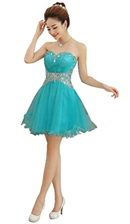 Drasawee Strapless Beaded Short Evening Prom Party Dress Junior Homecoming Gowns Blue UK18