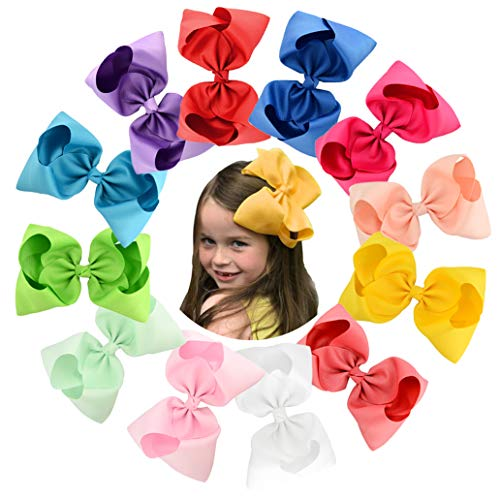 8 Inches Hair Bows Alligator Clips for Girls 12pcs Grosgrain Ribbon Boutique Hair Accessories for Toddler Teens Kids