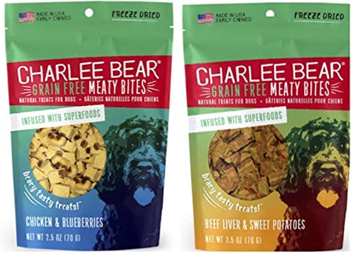 Charlee Bear – Meaty Bites Chicken with Blueberries (1) and Beef Liver and Sweet Potatoes (1) 2.5oz – 2 Pack