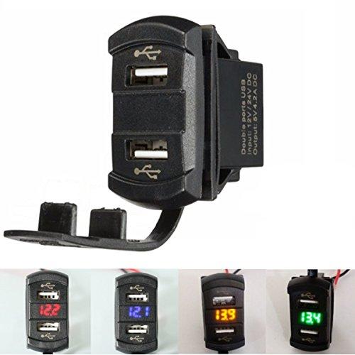 Viviance 12V 4.2A Dual Usb Charger LED Volt Meter Voltage Meter Switch Panel - Orange:
