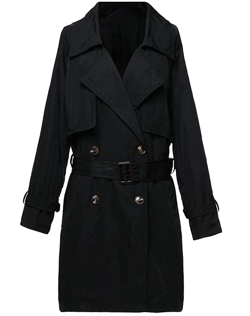Black LEISHOP Women DoubleBreasted Slim Lapel Coat with Belt