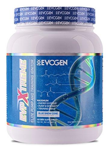 Evogen EVP Xtreme | Elite Pump & Training Ignitor, Citrulline, Nitrosigine, Glycerophosphates, Beta-Alanine | 24 Servings (Blue Snow Cone, 24 Servings) -