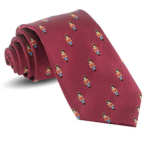 Christmas Ties For Men: Mens Woven Nutcracker Necktie Red Holiday Twill Tie (Nutcracker Holiday Ornaments)