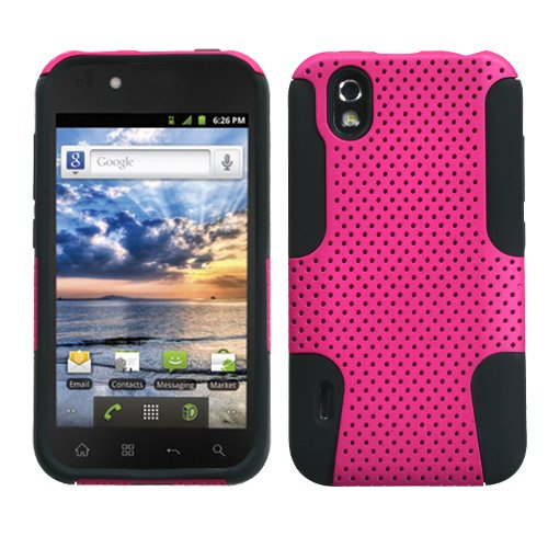 Asmyna ALGLS855HPCAST005NP Astronoot Premium Hybrid Case with Durable Hard Plastic Faceplate for LG Marquee/Ignite LS855 - 1 Pack - Retail Packaging - Hot Pink/Black