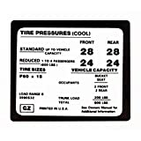 Eckler's Premier Quality Products 33150770 Camaro Tire Pressure Decal