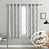 jinchan Quatrefoil Linen Blend Curtains Moroccan Tile Pattern Print Curtain Window Curtain Panels for Living Room Geometry Lattice 50' W x 54' L Gray 2 Panels
