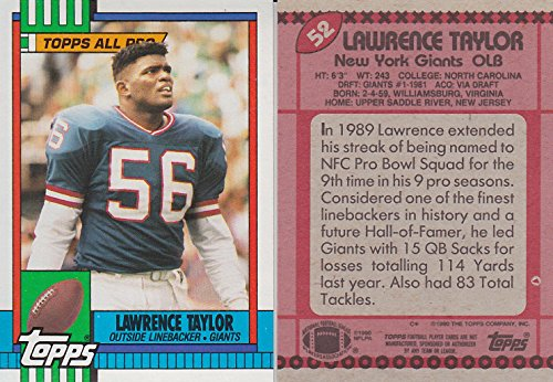 LAWRENCE TAYLOR TOPPS 1990 #52 NY GIANTS FOOTBALL TRADING CARD + (Lawrence Taylor Autographed Photo)