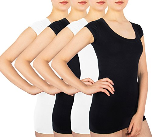 Sexy Basics Women's Teens 4 Pack Cotton Spandex Tunic Cap Sleeve Open Neck Casual Active Tee Shirt (4 Pack - Black & White, Large) ()