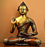 11'' Rare Ashtamangala Buddha Large Statue, Buddhism Tibet Tibetan Chinese Brass Carved Figurine Sculpture Thai Decor Happy Antique Yin Figure