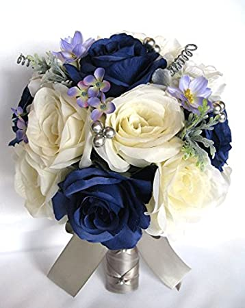 Amazon.com: Wedding bouquets Bridal Silk Flowers NAVY blue CREAM ...