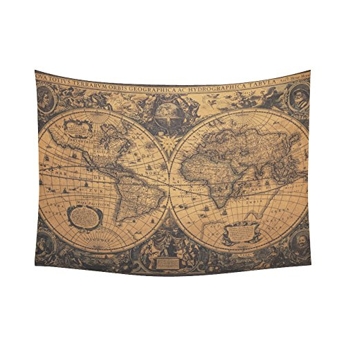 D-Story Custom Wall Tapestry Vintage World Map Cotton Linen Tapestry Wall Hanging 80 x 60 Wall Decor