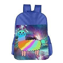 Rainbow Llama Lama Glama Print School Backpacks For Girls Boys Kids Elementary School Bags Bookbag