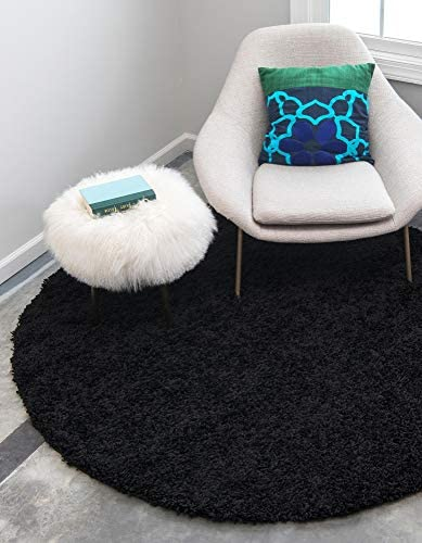 Unique Loom Solo Solid Shag Collection Modern Plush Jet Black Round Rug 8 2 x 8 2
