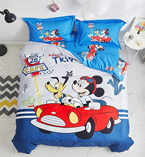 Cenarious Mickey Mouse Pluto Blue Red Cartoon Style Duvet Cover Set Cotton Flat Sheet Bed Cover - 4Pcs Bedding Set - Queen Flat Sheet Set - 86