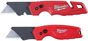 2-Pack Milwaukee FASTBACK Folding Utility Knife with Blade Storage