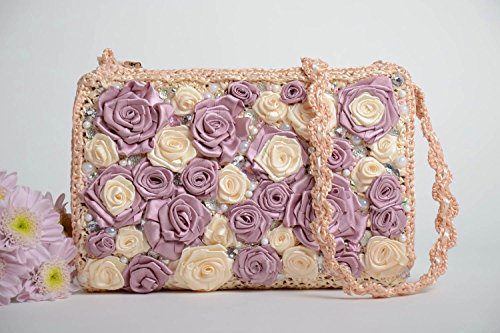Handmade Designer Light Crocheted Clutch Bag With Pink And Violet Ribbon Flowers