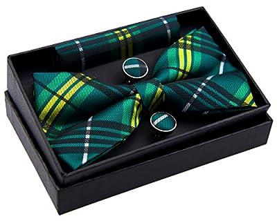 "Stylish Tartan Plaid Check Woven Pre-tied Bow Tie (5"") w/ Pocket Square & Cufflinks Gift Set"
