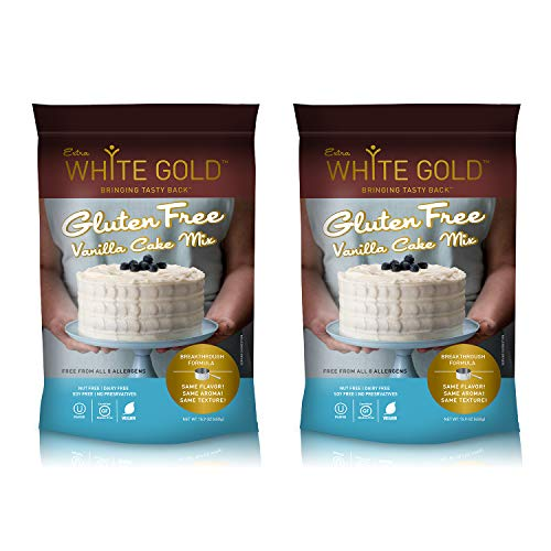 Extra White Gold Gluten Free Vanilla Cake Mix – For Cake Cupcakes Desserts – [Kosher] [Gluten Free] [Vegan] [Soy Free] [Nut Free] [Dairy Free] – 15.9 Ounces (2 pack)