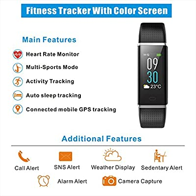 Letuboner Fitness Tracker,Color Screen Activity Tracker with Heart Rate Monitor,IP68 Waterproof Smart Wristband with Pedometer Calorie Counter Watch Sleep Monitor For Men Women Kids