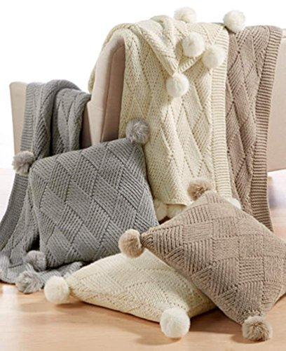 Martha Stewart Collection Basketweave Pom Pom Sweater Knit Decorative Pillow 20 in x 20 in [並行輸入品] B07RDVVT8J