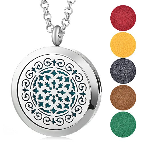 Garden Charms 30mm 316L Stainless Steel Grille Pattern Essential Oil Scent Locket Magnetic Aroma Diffuser Perfume Locket Jewelry with 5pcs Refill Pads Randomly (B) Pattern Grille