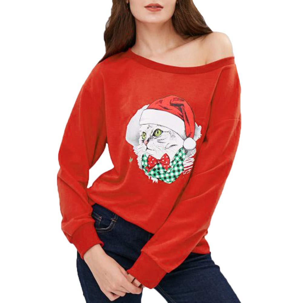 Sweatshirt Femme Imprimé, ELECTRI sans Bretelles Pullover Cou Slash Noël Lettre Grande Taille Christmas Pull Top Tricoté Manches Longues