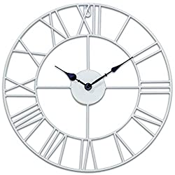 Whole House Worlds The Roman Numeral Outdoor Wall Clock, Quartz Movement, Bright White Open Metal Work, Iron, 15 Inch Diameter Analog Timepiece, Battery Powered, 1 AA, By