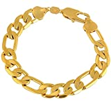 Skyjewelry Thick Figaro Bracelet 18k Yellow Gold Plated Bracelet For Women Men 22cm Long