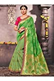 Da Facioun Indian Sarees For Women Designer Wedding Partywear Orange Color In Green Cotton Silk