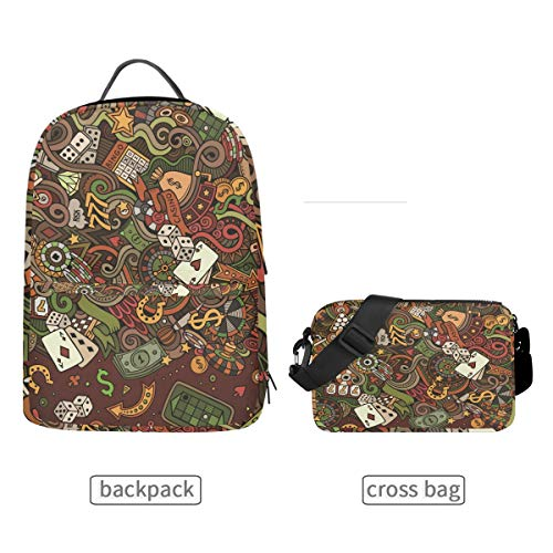 (DEZIRO Casino Dollar Poker Craps Bookbag with Cross Bag Set Backpacks)
