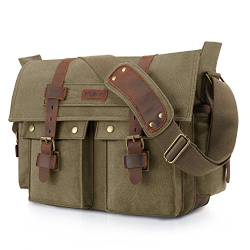 Kattee Unisex's Classic Military Canvas Shoulder Messenger Bag Leather Straps Fit 16' Laptop (Army Green)