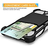ARMRA Shockproof Silicone Case Universal 4 to 6 Adjustable Cover with Phone Lanyard Neck Strap for iPhone 7/7 Plus/6/6 Plus/5/Samsung S7/S6/Note 4/5/LG/HTC/Huawei (Black)
