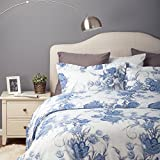 white and blue bedding - Flower Bedding Set Duvet Cover Set with Zipper Closure-Blue/White Floral Design,Full/Queen(90