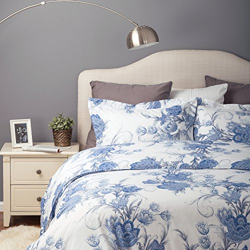 Flower Bedding Set Duvet Cover Set with Zipper Closure-Blue/White Floral Design,Full/Queen(90