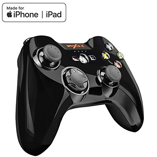 TNP PXN Wireless Bluetooth Game Controller Mobile Gamepad Joystick MFi Certified Compatible with iPhone Xs/Xs Max/XR/X / 8 Plus, iPad Pro, iPod Touch, Adjustable Phone Clip Mount Holder -