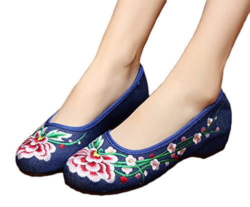 Avacostume Fleur Broderie Appartements En Caoutchouc Semelle Casual Slip Sur Des Chaussures Pour Femmes Bleu
