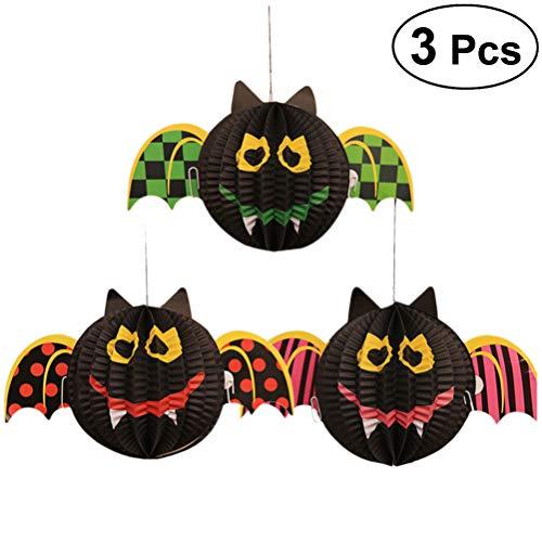 BESTOYARD 3PCS Halloween Bat Lanterns Paper Lantern Hanging Decorations for Halloween Party Club Pub -