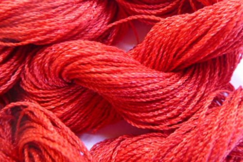 Lace Weight Bright Red Silk Blend Yarn