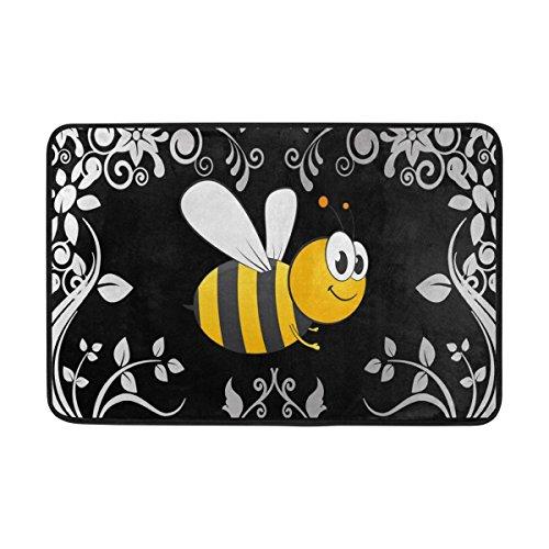 Naanle Entrance Doormat Bumble Bee Door Mat Indoor Cotton interlayer Polyester Fabric Top 15.7x23.6 Inch