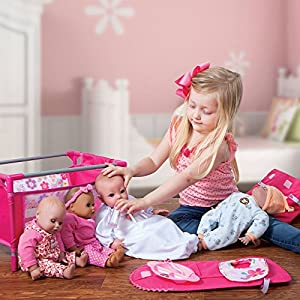Adora Baby Doll Crib Pink Floral Playpen Bed Toy with Carry Bag for Baby Dolls up to 16 Inches