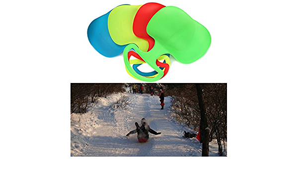 Garneck Plastic Snow Sleds Toboggan Slider Boat Skiing Board Grass Sand Board Ski Boards for Kids Adult Outdoor Winter Red