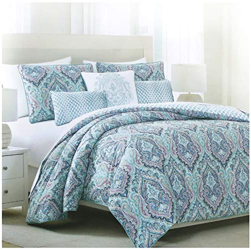 (Tahari Home Vintage Damask Ornate Scroll Luxury Duvet Cover 3 Piece Bedding Set Antique Bohemian Paisley Medallion Taupe Tan Ivory Patterned 300tc Cotton Full/Queen or King (King, Turquoise))
